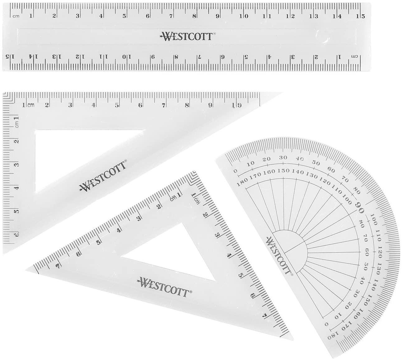 Westcott Math Set - Transparent (Pack of 4), £0.79 (+£4.49 non prime) at Amazon