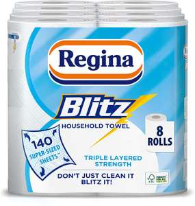 Regina Blitz Household Towel, 8 Rolls, 560 Super-Sized Sheets, Triple Layered Strength - £9.32 (Prime) / £13.81 (Non Prime) @ Amazon