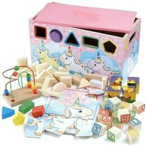 Personalised 7-In-1 wooden Activity Trunk/box For Boys And Girls £17.99 with Code From Studio