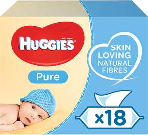 Huggies Pure Baby Wipes - 18 Pack (1008 Wipes) - £12.38 Delivered @ Amazon (+£4.49 Non-Prime)