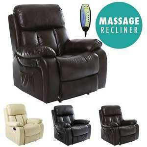 Chester Heated Leather Massage Recliner Chair Sofa Lounge Gaming Home Armchair - Black/Cream/Brown - £199.99 @ furnitureonline_uk eBay