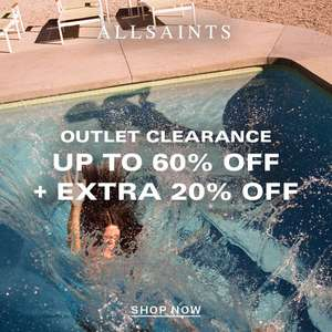 AllSaints Outlet Clearance - Up to 60% Off + Extra 20% Off + Free Delivery for Prime Members via Amazon Pay + Free Returns @ AllSaints