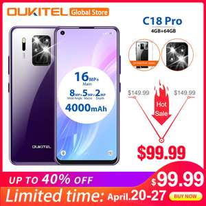 "OUKITEL C18 Pro 6.55"" Android 9.0 MT6757 4GB 64GB 16MP 4 Cameras Smartphone 1600*720 4000mAh £85.98 AliExpress OUKITEL Global Store"