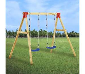 VidaXL wooden two seater swing set (230x130x166 cm) for £117.99 delivered @ VidaXL