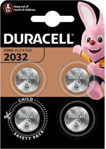 Duracell Specialty 2032 Lithium Coin Battery 3 V Pack of 4 (DL2032/CR2032) £3.81 @ Amazon (+£4.49 non-prime)