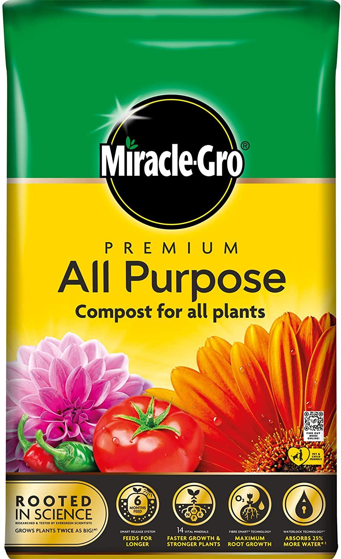 Miracle-Gro Purpose Compost-50L Bag (New 2020 Range) Compost, Yellow £6.99 @ Amazon (+£4.49 Non-prime)