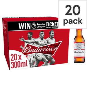 Budweiser 20 Pack 300Ml £10 @ Tesco (Min basket £40 + up to £4 delivery)
