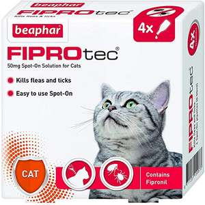 Beaphar Fiprotec Spot-On Cat, 4 Pipette £6.83 (Prime) + £4.49 (non Prime) at Amazon