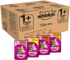 Whiskas Wet food pouches 1+ 120 x 85g - £25.50 (or £22.57 with S&S First Time voucher - Delivered @ Amazon