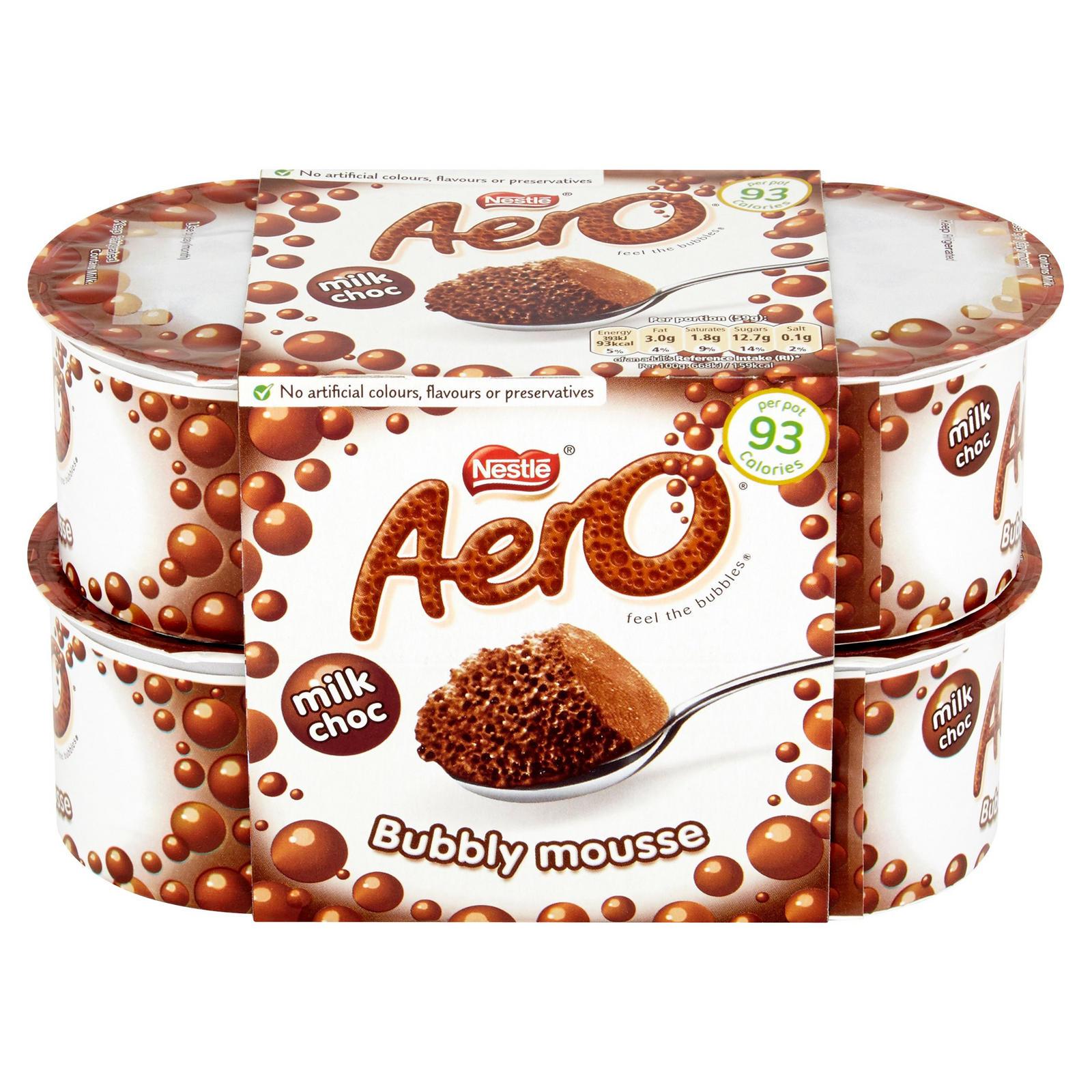 Aero 4 X Milk Chocolate Bubbly Mousse / Milkybar Mousse 4 x 55g (220g) , Now 75p @ Iceland