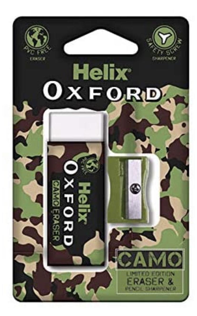 Helix Oxford Camo Eraser And Pencil Sharpener Set - Green - 99p Prime / +£4.49 non Prime @ Amazon