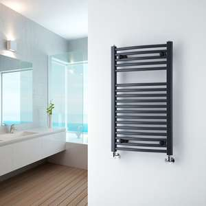 Milano Brook - Anthracite Curved Heated Towel Rail 800mm x 500mm - £36.37 delivered @ Best Heating