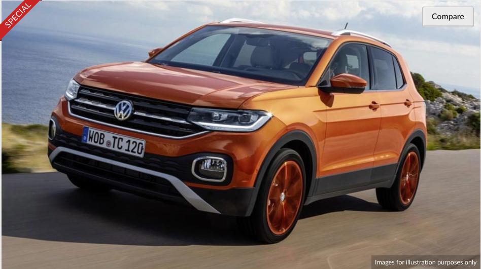 A brand new Volkswagen T-Cross, £198.61 p.m, 36 months, 8k miles p.a, £1,191.65 initial rental £8377