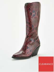 V By Very Western Calf Boots - Burgundy - £12.50 + £3.99 Delivery @ Very