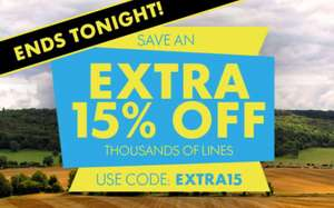 Go Outdoors extra 15% on selected items - Ends midnight Tonight - £4.95 delivery / Free delivery over £50