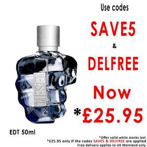 Diesel Only The Brave Eau De Toilette 50ml Spray £25.95 with Free Delivery using Codes @ Beauty Base