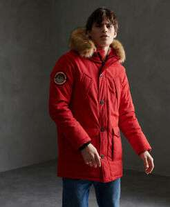 Superdry Mens Everest Parka Jacket - All Sizes- Red/Khaki - £41.60 With Code @ Superdry on eBay
