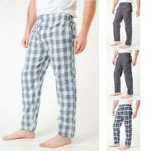 Mens Pyjama Bottoms XL Cotton Check Light Blue / Navy Red £5.75 delivered @ label_apparel ebay