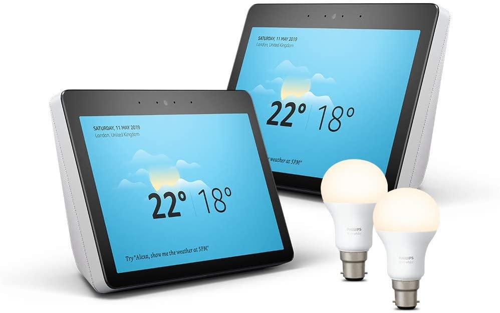 """2x Echo Show 10"""" (2nd Gen), White + 2x Philips Hue bulbs B22 £339.98 Amazon"""
