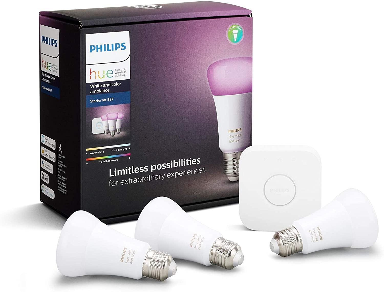 Philips Hue White and Colour Ambiance Starter Kit: Smart Bulb 3x Pack LED [E27 Edison Screw] £135.16 Amazon