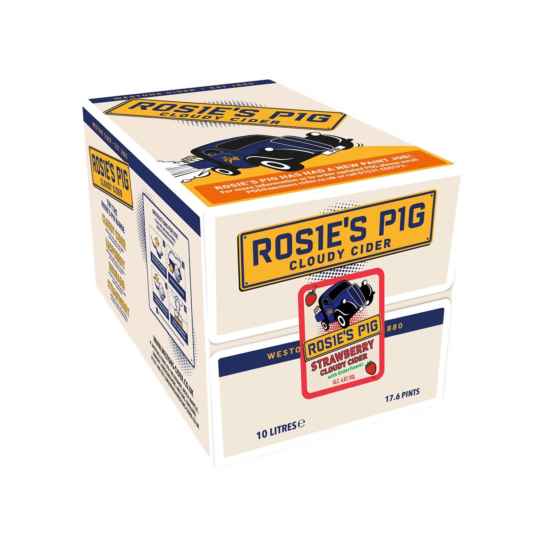 Rosie's Pig Cloudy Strawberry Cider 10L Bag £28 @ westons-cider