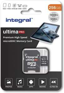 Integral 256GB micro SD card 4K video Premium High Speed memory card microSDXC Up to 100MB/s V30 UHS-I U3 A1 C10 - £27.99 @ Amazon
