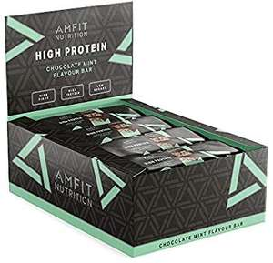 Amazon Brand - Amfit Nutrition Protein Bar Chocolate Mint 12-pack (12 x 60g) - £12.90 (+£4.49 non-Prime) @ Amazon warehouse
