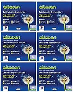 6 Months Supply Allacan Cetirizine Hayfever Allergy Tablets 30 x 6 £4.59 (+£4.49 nonPrime) @ Amazon