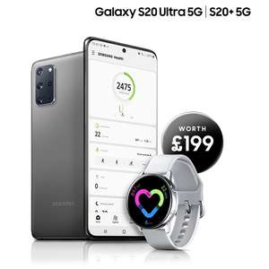 Claim a Galaxy Watch Active when you buy a Galaxy S20+ or S20 Ultra - from £999 at participating retailers