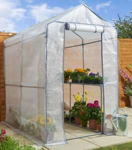 Wilko Walk in PE Greenhouse with Cover and Shelf Staging H190 x W120 x D190cm - £40 (+£5 Postage) @ Wilko