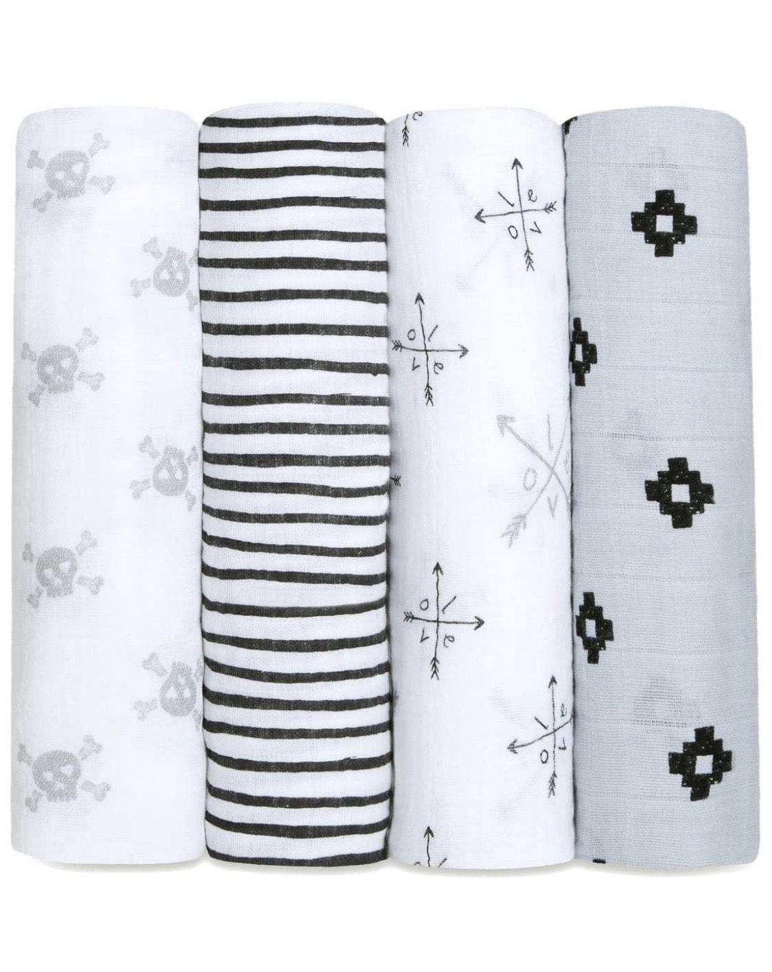 aden + anais 100% cotton muslin swaddles lovestruck 120 x 120cm 4 pack - £31.90 @ Amazon