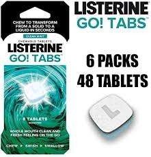 LISTERINE Go! Tabs – Sugar Free Tablets with Clean Mint Flavour Pack of 48 Tablets £6 (Prime) / £10.49 (non Prime) at Amazon