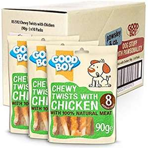 Good Boy Chewy Twists with Chicken Dog Treats - Pack of 10 - 90g £16 (Prime) £20.49 (Non Prime) / £14.40 S&S @ Amazon