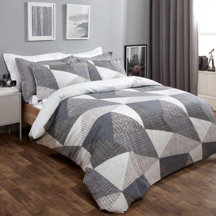 Dreamscene textured geometric double duvet cover set for £11.98 delivered @ Online Home Shop