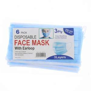6 Pack Disposable Face Mask with Ear Loop £3.49 + £1.49 Delivery = £4.98 @ Home Bargains