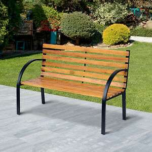 Outsunny 2 Seater Garden Bench Metal Wooden Slatted Seat Backrest Patio Chair £63.99 delivered with code @ Outsunny / eBay