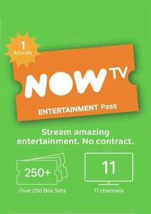 NOW TV - 1 Month Entertainment Pass - £2.79 @ CDKeys