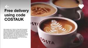 Free delivery for Ubereats Costa Coffee delivery until end of May 3rd (5000 redemptions)