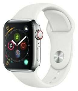 Apple Watch S4 Cell 40mm Amoled Screen 16GB - Stainless Steel /White Sport Band at Argos Ebay for £326.99