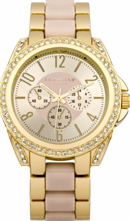 Identity Ladies Gold Tone with Pink Inlay Bracelet Watch + 12 months warranty - £4.99 delivered @ Argos eBay