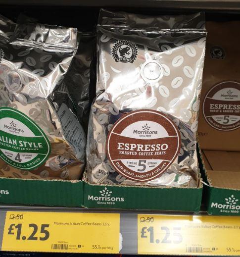 Morrisons Coffee Beans Various Roasts £1.25 @ Morrisons