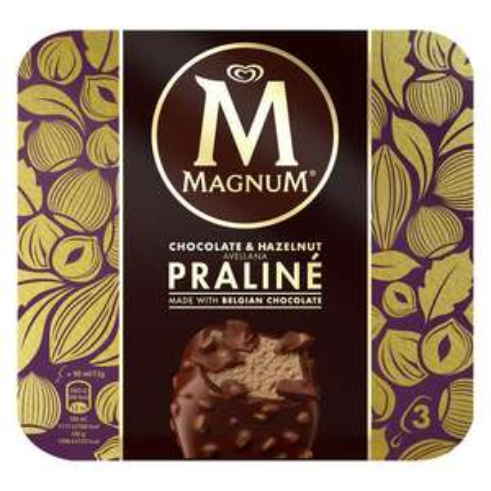 Magnum Chocolate & Hazelnut Praline Ice Cream 3x90ml £1.50 @ Iceland