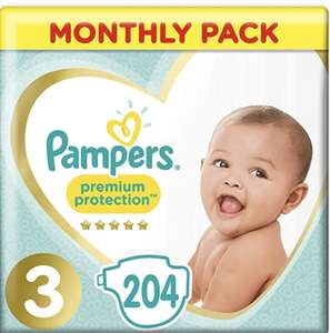 Pampers Premium Protection,Size 3, 204 Nappies, 6-10 kg - £18.55 (+£4.49 non-Prime) @ Amazon