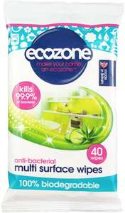 Ecozone Anti-Bacterial Multi Surface Biodegradable Wipes 40 per pack £2.49 at Amazon (£2.24 with S&S / + £4.49 NP)
