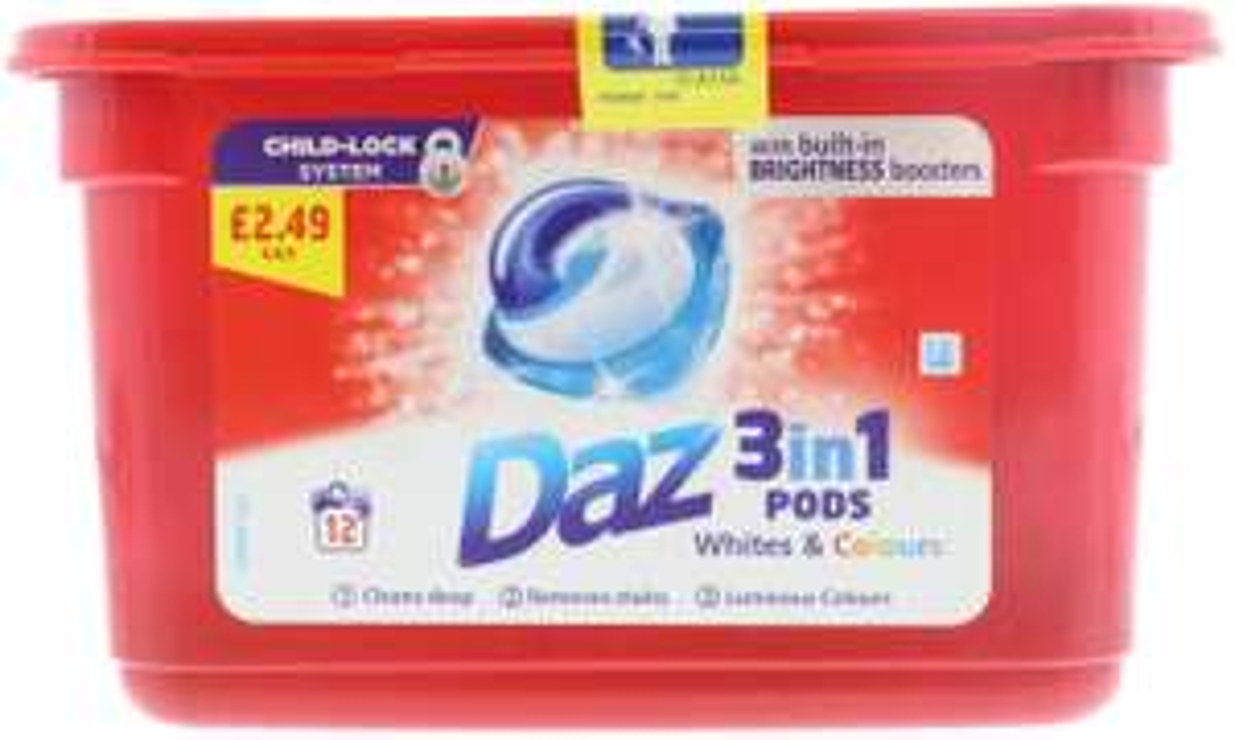 Daz 3 in1 Pods Washing Liquid Capsules (12 Washes) £2.49 prime / £6.98 non prime at Amazon