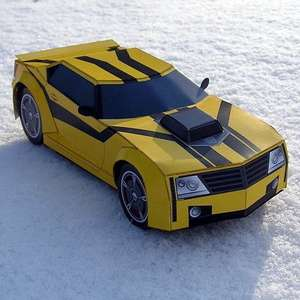 Free Bumblebee Car from Transformers Paper Model pdf from supercoloring.com
