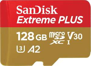 SanDisk Extreme PLUS 128GB microSDXC Memory Card + SD Adapter ,up to 170/90 MB/s R/W, C10, U3, V30 A2- £23.99/64GB £12.99 @ Base