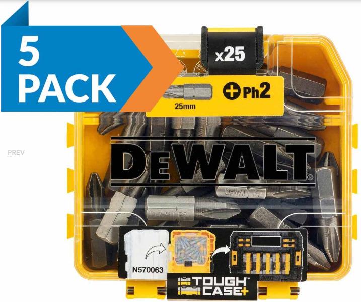 5 Pack of DeWalt DT71522X5 25pc 25mm PH2 Standard Tic Tac Philips Bits - £12.95 (£2.59 each) delivered @ FFX (10 Pack £24.95)