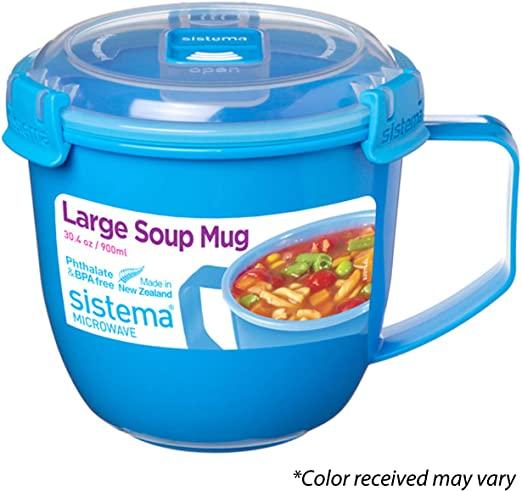 Sistema Large Microwave Soup Mug, 900 ml - Assorted Colours £3 (Prime) / £7.49 (non Prime) at Amazon