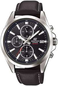 Casio Men's Edifice Chronograph Black Leather Strap Watch - £58.50 with code delivered @ Watches2U